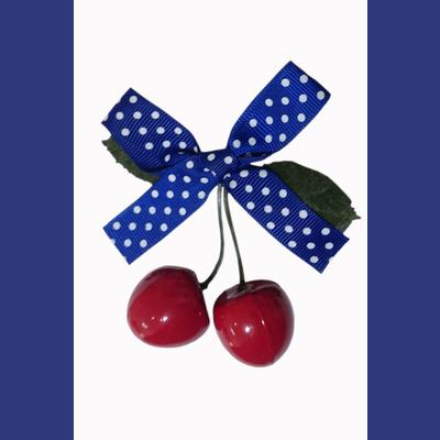 Hamilton Cherry Bow Hairclip by Banned - Blue/White