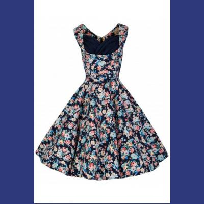 Ophelia Dark Blue Floral Spring Garden Dress - uk8 ONLY