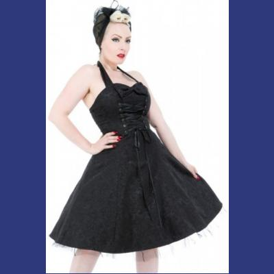 Black Brocade Party Dress with Ribbon Lacing