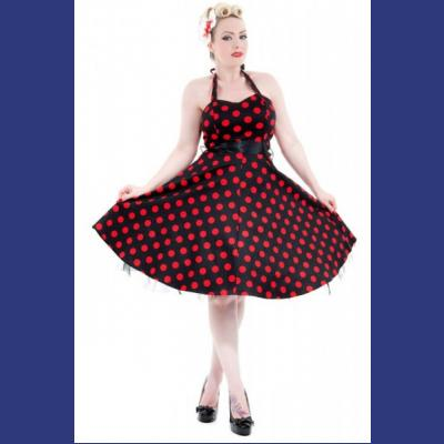 Big Red Polkadot 1950s Rockabilly Dress UK8 & 24 ONLY