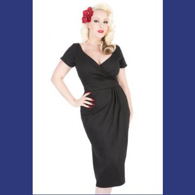 Black Loretta Pencil Dress by Lady Vintage UK8 ONLY