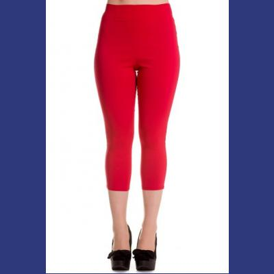 Tina Red Capri Trousers by Hell Bunny