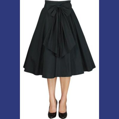 Black Cotton 50's skirt with Bow - ONLY PLUS SIZES LEFT