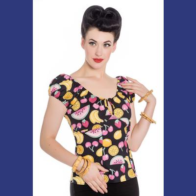 Carmen Fruity Black Top by Hell Bunny