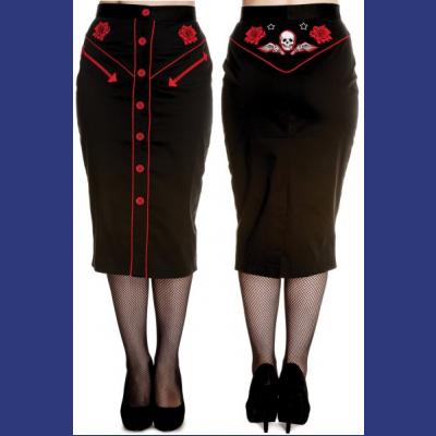 Western Skull & Roses Pencil Skirt XS ONLY