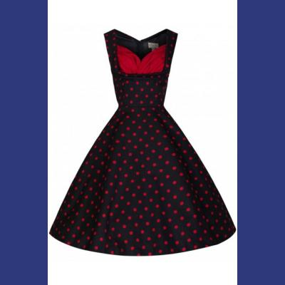 Ophelia Black with Red Polkadot Prom Rockabilly Swing Dress  - U