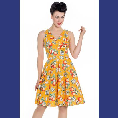 Somerset Apple Blossom Orange 50's Dress by Hell Bunny