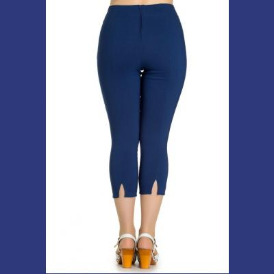 Tina Navy Blue Capri Trousers by Hell Bunny  3dd4500b7