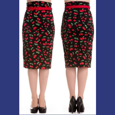 Cherry Pop Wiggle Skirt by Hell Bunny 3X 4X ONLY
