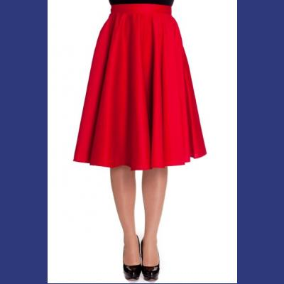 Paula Red Cotton 50's Swing Skirt by Hell Bunny