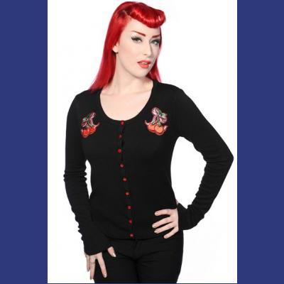 Cherry Bow Black Cardigan by Banned