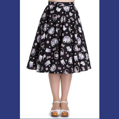 Amelia Kitten Print Black Cotton 50's Skirt XS ONLY