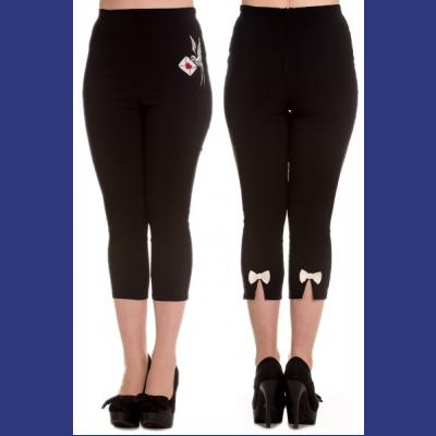 Sadie Black Capri Trousers by Hell Bunny with Swallow