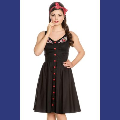 Lulu Cherry Blossom Black Dress by Hell Bunny
