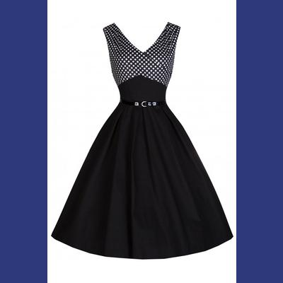 Valerie Black Swing Dress with White Polkadot by Lindy Bop