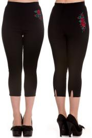 Lillian Red Roses Black Capri Trousers XXS ONLY