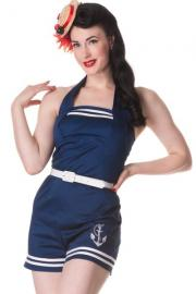 Anchored Navy Blue Nautical Playsuit Hell Bunny