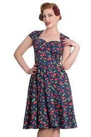 April Cherries on Blue 50's Dress by Hell Bunny
