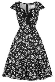 Isabella Elegant Rose Silhouette Rockabilly Dress - UK10 ONLY