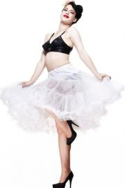 25 inch White Below Knee Mesh Petticoat Skirt by Hell Bunny