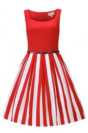 Bette Red Stripe Rockabilly Dress by Lindy Bop