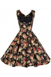 Ophelia Black Floral Spring Garden Dress by Lindy Bop