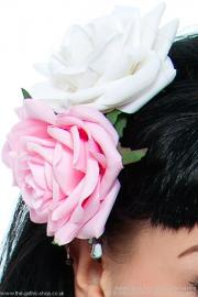Pink & White Double Rose Hair Clip