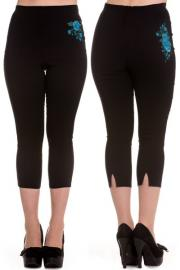 Lillian Blue Roses Black Capri Trousers XXS ONLY