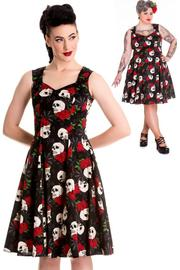 Rock & Ruin Skull Roses 50's Style Dress  - XS ONLY