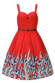 Bernice Red Tulip Swing Dress by Lindy Bop