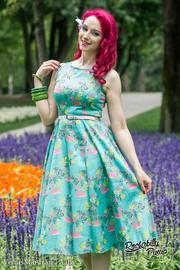 Hepburn Summer Flamingo Dress by Lady Vintage - UK8 ONLY