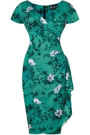 Elsie Dress - Wild Roses on Teal