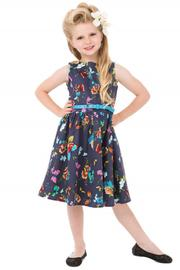 Mini Audrey Blue Butterfly Girl's Rockabilly Dress by Lindy Bop