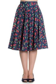 April Cherries on Blue 50's Skirt by Hell Bunny