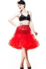 Red Below Knee Mesh Petticoat Skirt by Hell Bunny