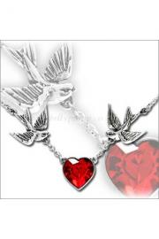 Swallow Heart Pendant Necklace
