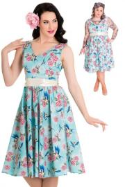 Lacey 50's Swallow Rose Turquoise Dress by Hell Bunny