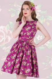 Damson Berry Floral Tea Dress by Lady Vintage