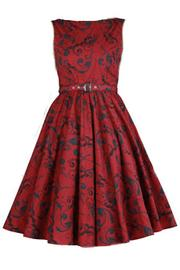 Patsy Red Printed Rockabilly Dress