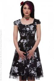 Black Cotton Vintage Dress with White Floral Print UK8 ONLY