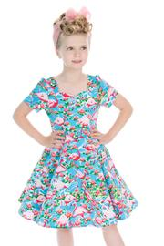 Flamingo Print Children's 50's Swing Dress