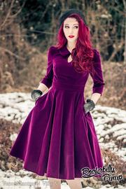 Glamorous Dark Purple Velvet 50's Tea Dress