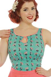 Daisy Black Cats Fitted Top by Lindy Bop