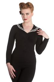 Landlubber Black Nautical White Stripe Cardigan by Hell Bunny