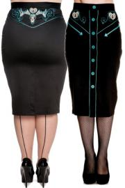 Locked Heart Pencil Skirt by Hell Bunny