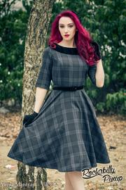 Livingstone Navy Tartan 50's Dress by Hell Bunny