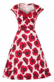 Red Poppy on White Isabella Rockabilly Dress