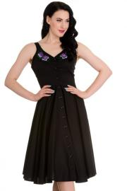 Bessie Pansy Floral Black Dress XXS XS ONLY