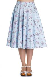 Amelia Cat Print Blue Cotton 50's Skirt - L ONLY