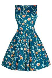 Beautiful Birds Blue Tea Dress by Lady Vintage